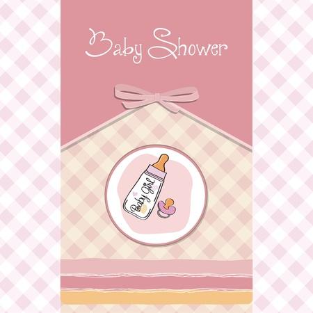 nueva chica del aviso del bebé tarjeta con botella de leche y el chupete Ilustración de vector