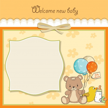 little boy and girl: baby shower card with toys