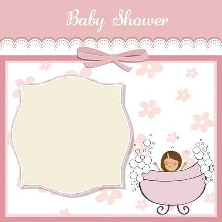 romantic baby girl shower card Stock Vector - 14285786