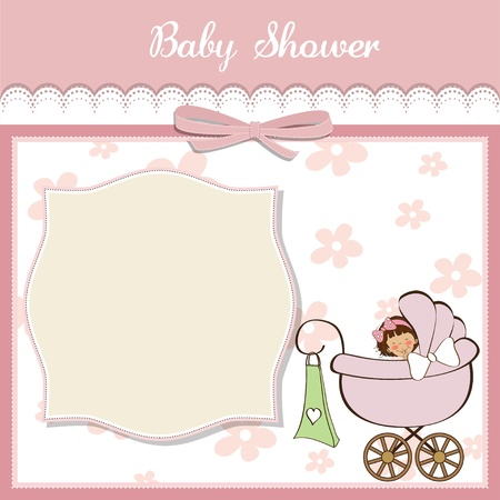 new baby girl announcement card Stock Vector - 14285790