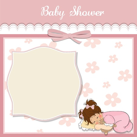 baby sleep: baby shower card with little baby girl play with her teddy bear toy Illustration