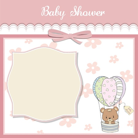 balloons teddy bear: delicate baby shower card with teddy bear Illustration