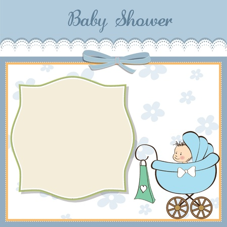 baby boy announcement card with baby and pram Vector