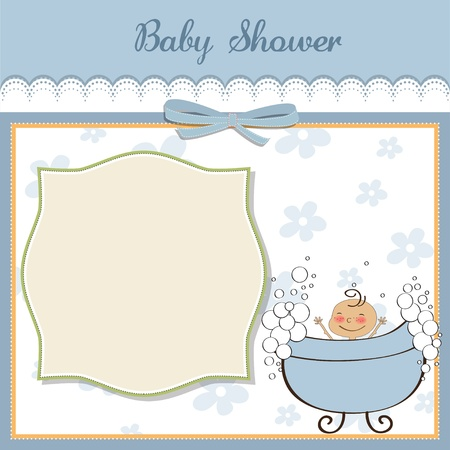 baby illustration: baby boy shower card
