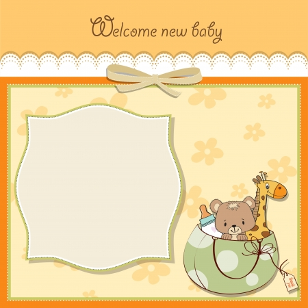 new baby announcement card with bag and same toys Stock Vector - 14285714