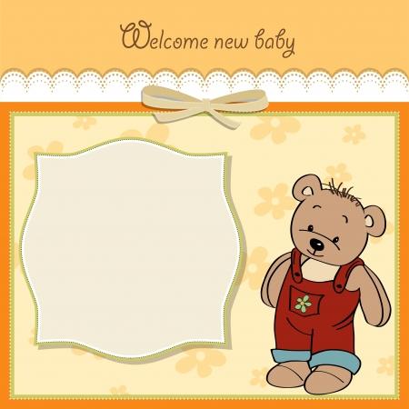 geburt: Baby-Dusche-Karte mit Teddy