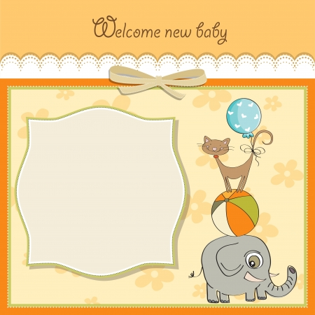 baby shower card with pyramid of animals Vector