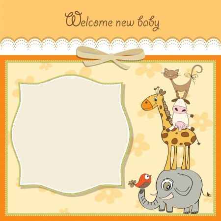 baby girl background: baby shower card with funny pyramid of animals