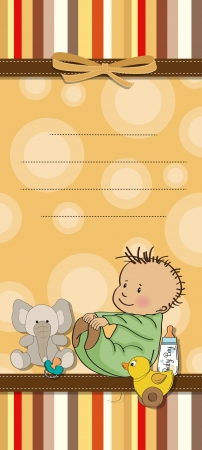 specifically: funny baby shower cartoon card Illustration