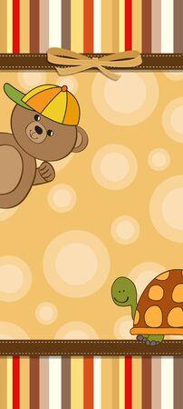 turtles love: childish cartoon greeting card Illustration