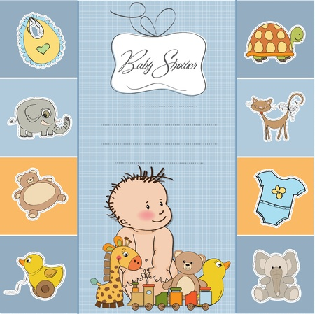 baby boy shower card Stock Vector - 14285727