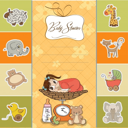 weigher: baby girl shower card Illustration