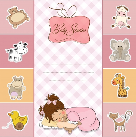 baby shower card with little baby girl Stock Vector - 14271781