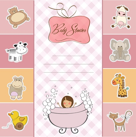 young girl bath: baby shower card with little baby girl