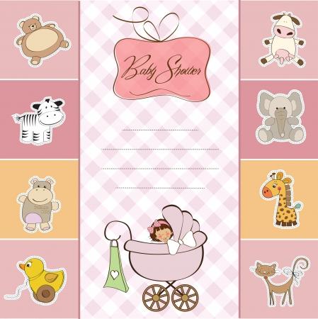 cochecito de bebe: Tarjeta de Baby Shower con la ni�a peque�a
