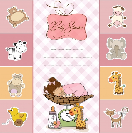 weigh: baby shower card with little baby girl