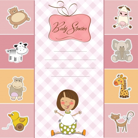 baby shower card with little baby girl Stock Vector - 14271780