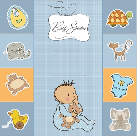 baby shower card with little baby boy  Vector
