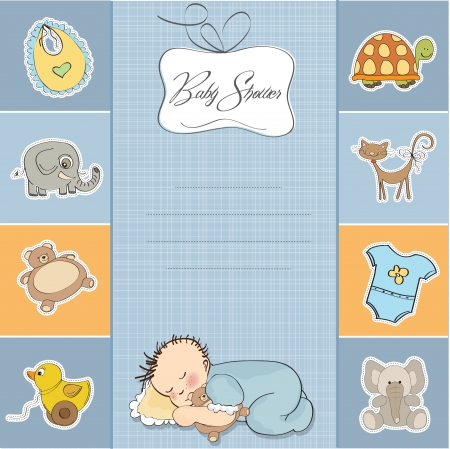 baby shower card with little baby boy  Stock Vector - 14271787
