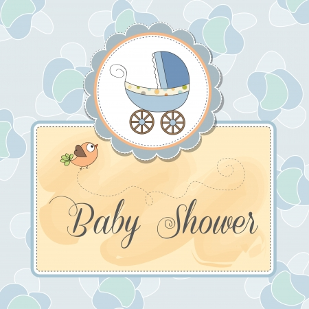 delicate baby shower card with pram Stock Vector - 14334043