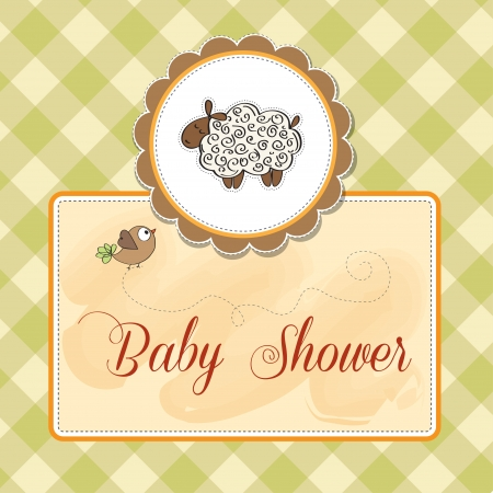 sheep love: cute baby shower card with sheep