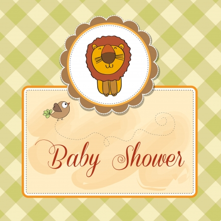 childish baby shower card with cartoon lion Stock Vector - 14350089