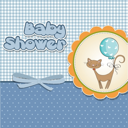 new baby shower card with cat Stock Vector - 14366196