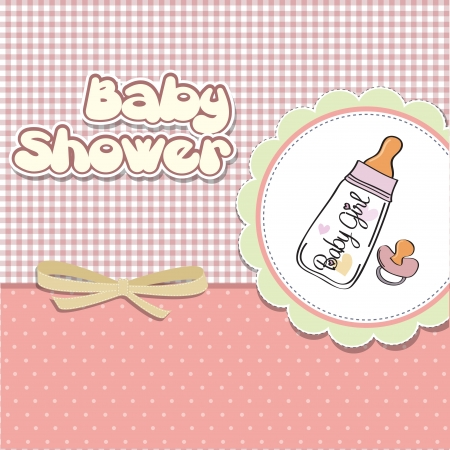baby bottle: new baby girl announcement card with milk bottle and pacifier Illustration