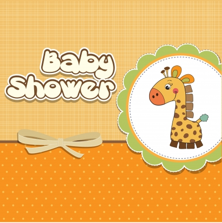 play boy: new baby announcement card with giraffe
