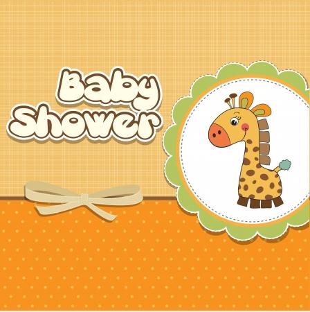 invitacion bebe: nuevo beb� anuncio de la tarjeta con la jirafa