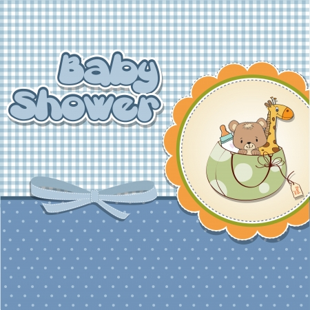 cute baby girls: new baby announcement card with bag and same toys