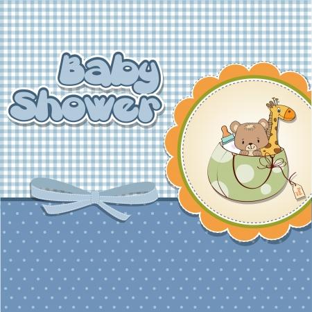 girl shower: nuevo beb� anuncio de la tarjeta con el bolso y los juguetes mismos