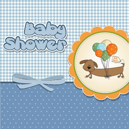 hanging girl: baby shower card with long dog and balloons