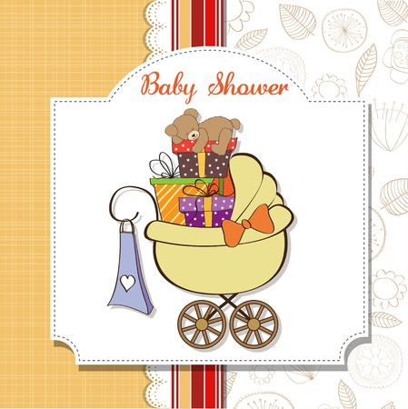 nestling: baby shower card with gift boxes in the pram