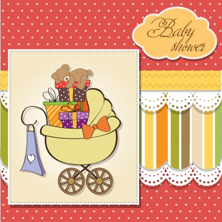 baby shower card with gift boxes in the pram Vector