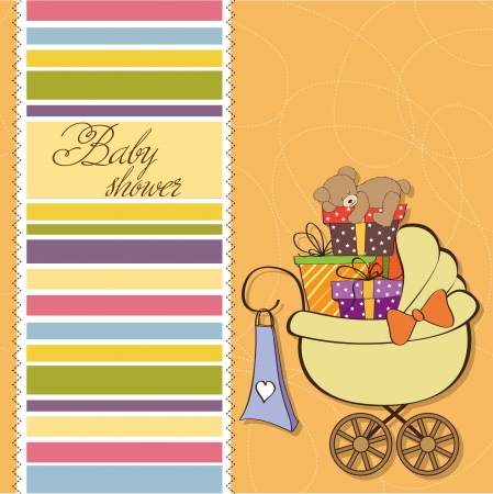 baby shower card with gift boxes in the pram Stock Vector - 14415829