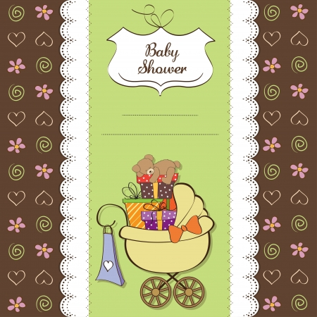 toy box: baby shower card with gift boxes in the pram