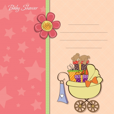 big girls: baby shower card with gift boxes in the pram