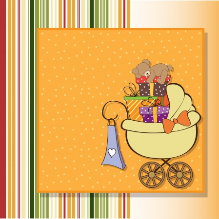 specifically: baby shower card with gift boxes in the pram