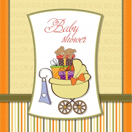 baby shower card with gift boxes in the pram Stock Vector - 14415820