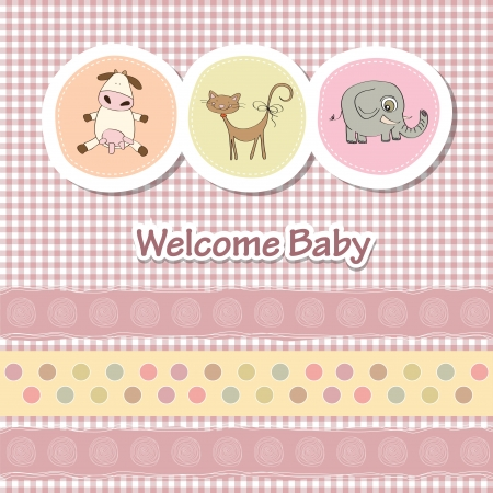 baby shower card with funny animals Stock Vector - 14415845