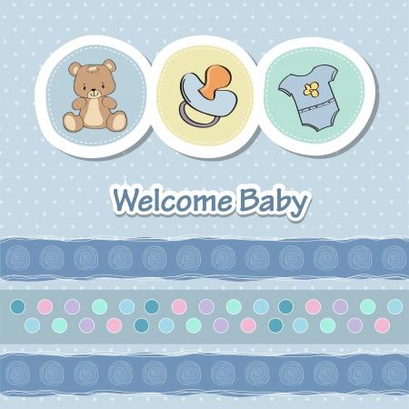 Baby-Dusche-Karte mit lustigen Tieren Vektorgrafik