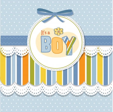 baby illustration: baby boy announcement card