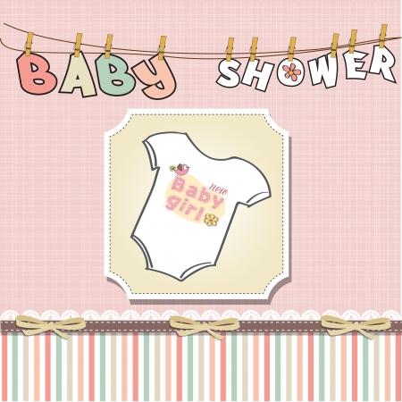 bebe azul: aviso de la ni�a tarjetas Vectores