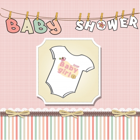 girl in shower: baby girl announcement card