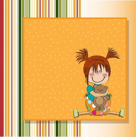 little girl sitting with her teddy bear Ilustração
