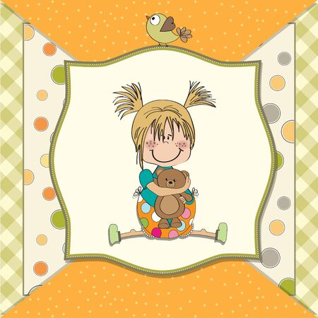 little girl sitting with her teddy bear Stock Vector - 14491245