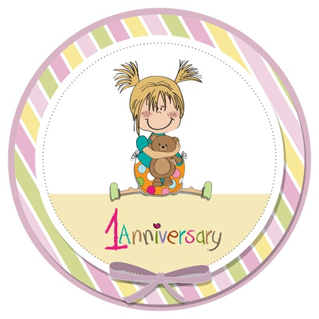 little girl on the first anniversary Vector