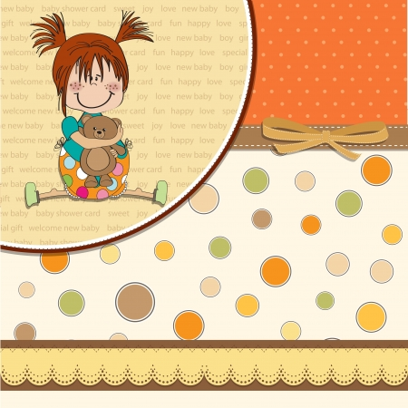 happy moment: little girl sitting with her teddy bear Illustration
