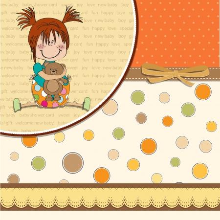 persona alegre: niña sentada con su osito de peluche